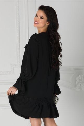 Rochie LaDonna neagra cu dantela florala si volanase