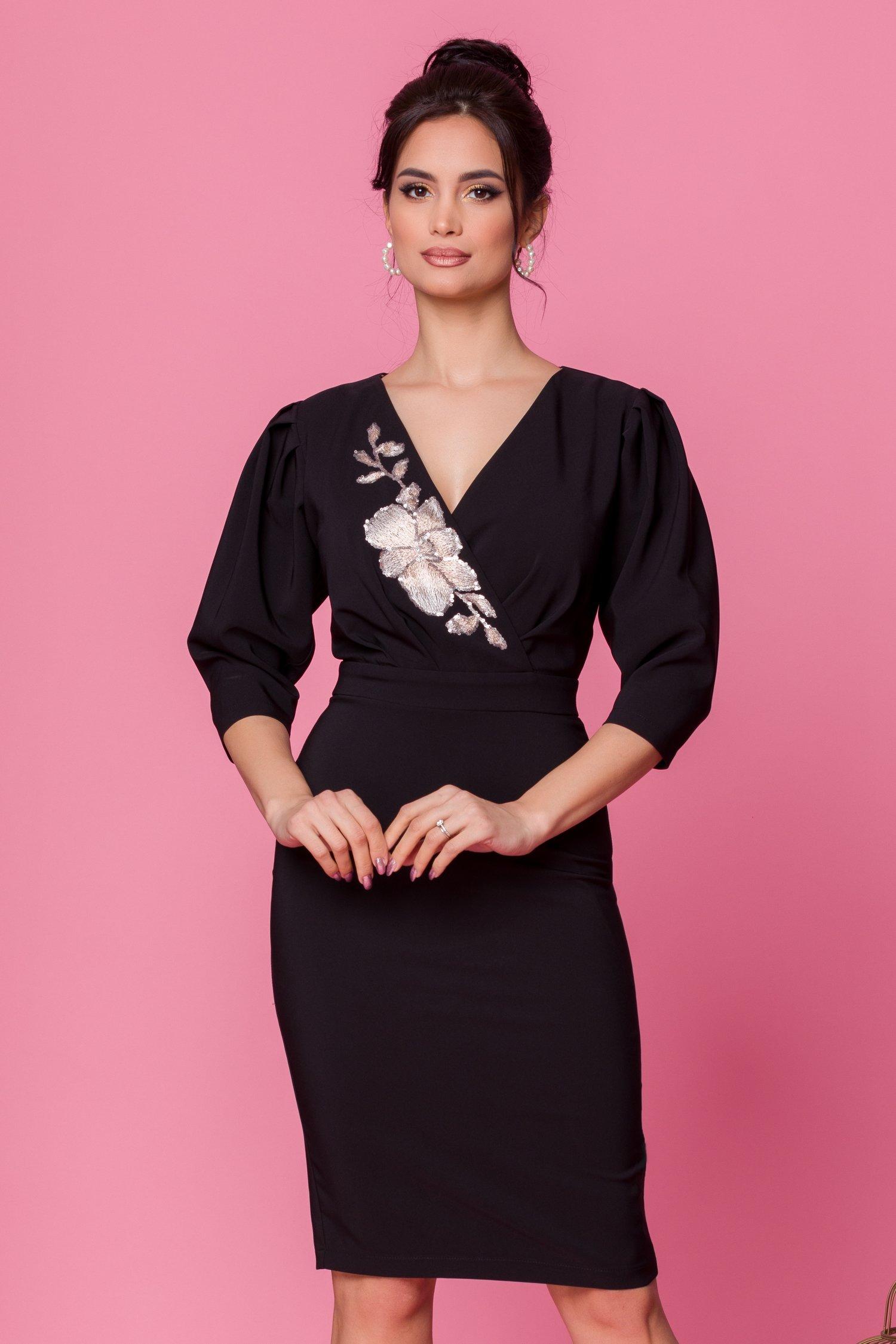rochie ladonna neagra cu decolteu petrecut accesorizat cu broderie 487524 4