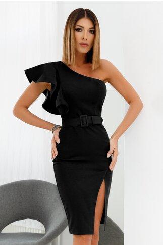 Rochie LaDonna neagra cu design asimetric si volanase pe un umar