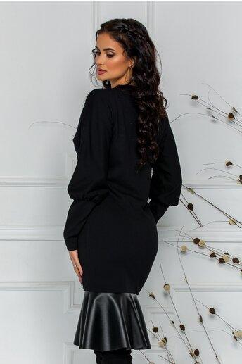 Rochie LaDonna  neagra cu detalii din dantela si piele ecologica