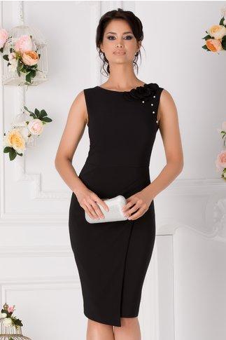 Rochie LaDonna neagra cu flori 3D pe umar si si perlute