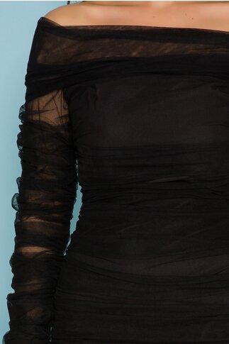 Rochie LaDonna neagra cu fronseuri din tull