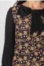 Rochie LaDonna neagra cu imprimeu divers si buline