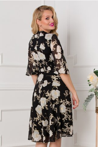 Rochie LaDonna neagra cu imprimeu floral alb si insertii aurii