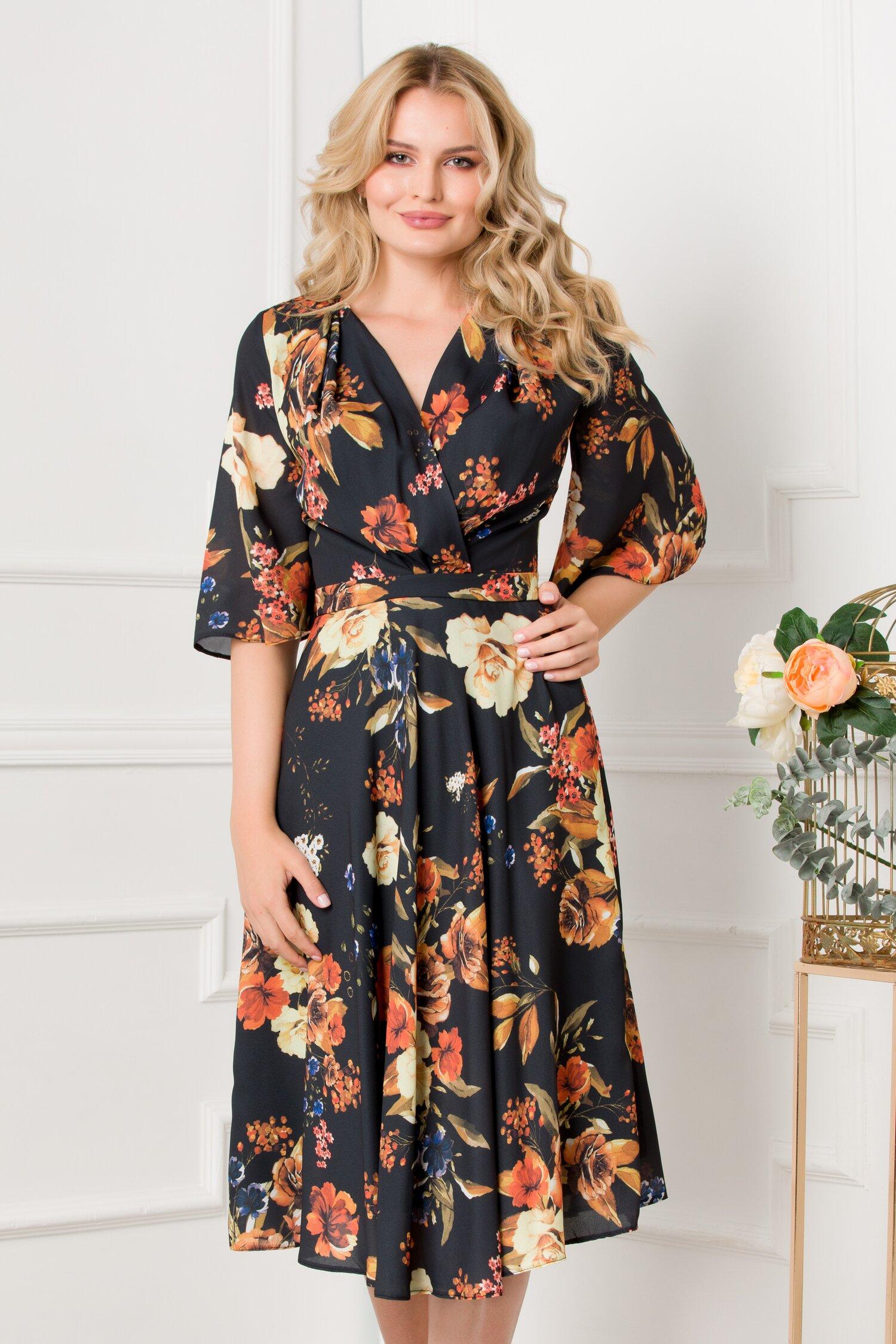 Rochie LaDonna neagra cu imprimeu floral orange