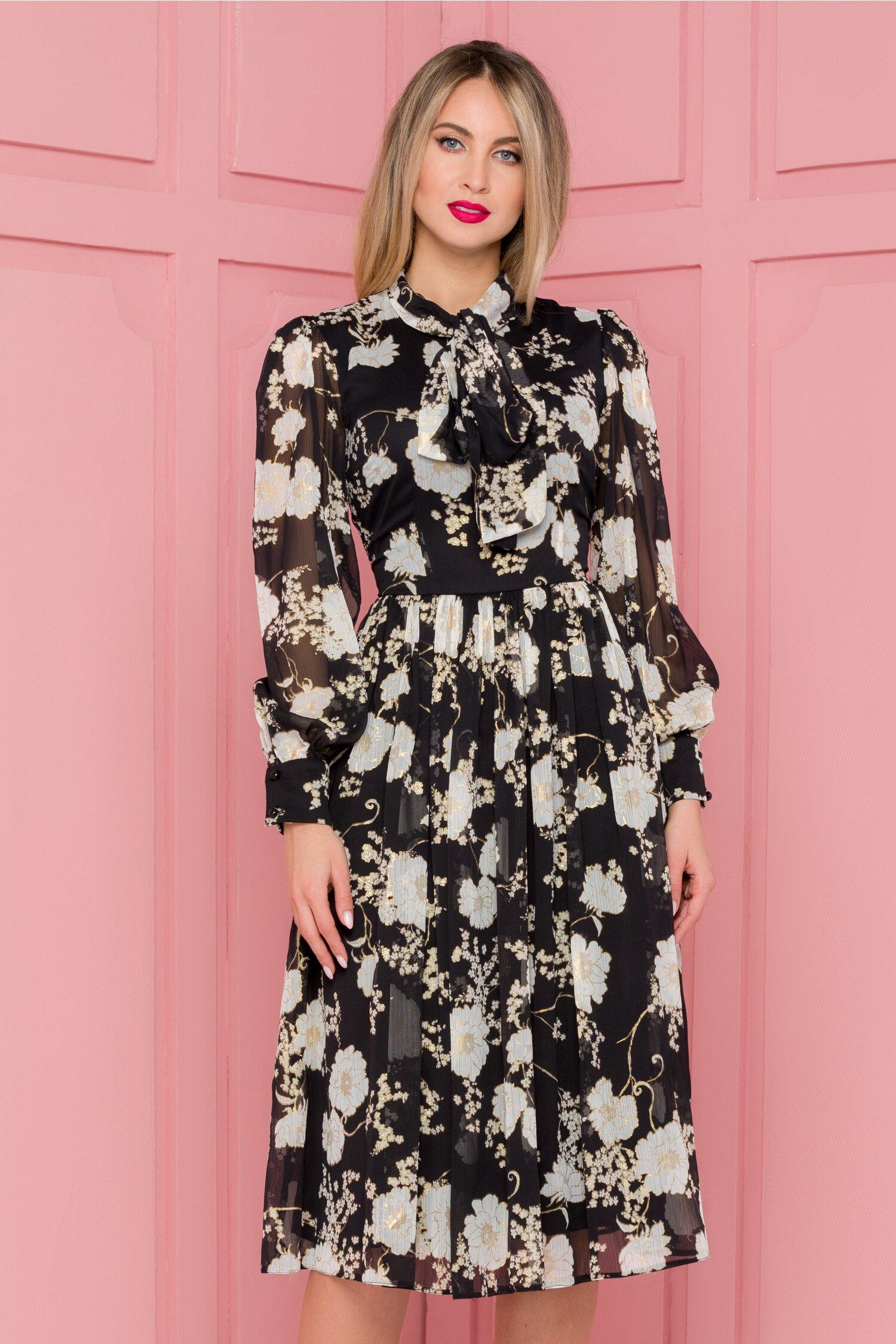 Rochie LaDonna neagra cu imprimeuri florale si detalii aurii