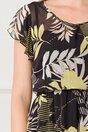 Rochie LaDonna neagra cu imprimeuri florale si elastic in talie