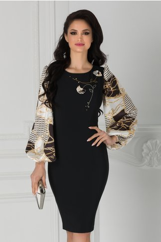Rochie LaDonna neagra cu maneci albe si imprimeuri
