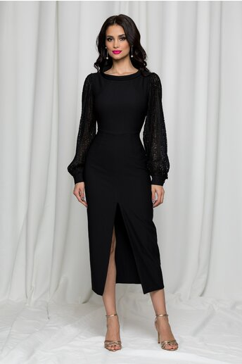 Rochie LaDonna neagra cu maneci din dantela creponata
