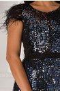Rochie LaDonna neagra cu paiete bleumarin si pene la umeri