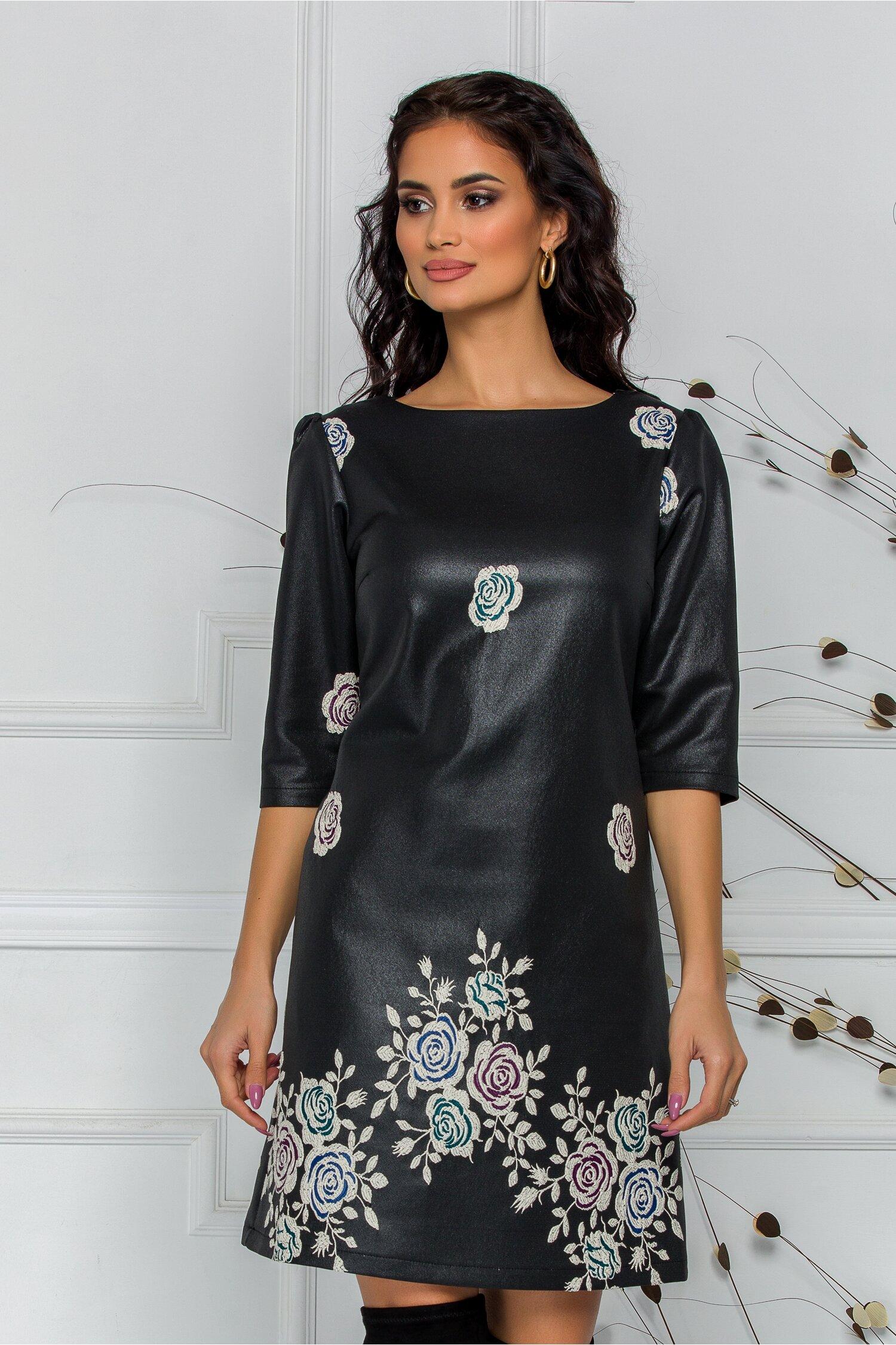 Rochie LaDonna neagra cu trandafiri turcoaz brodati