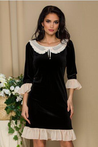 Rochie LaDonna neagra din catifea cu insertii din voal crem
