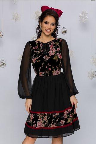 Rochie LaDonna neagra din voal cu insertii din catifea si imprimeu floral roz
