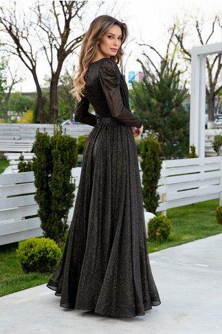 Rochie LaDonna neagra lunga cu flori 3D in talie si sclipici auriu