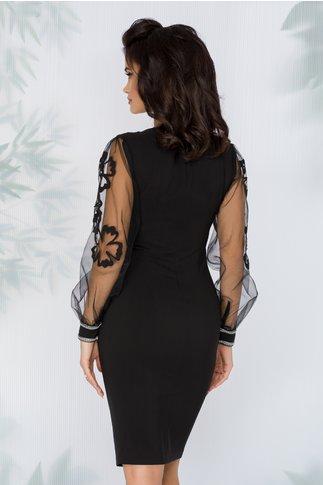 Rochie LaDonna neagra stil sacou cu aplicatie din margele si maneci din tull