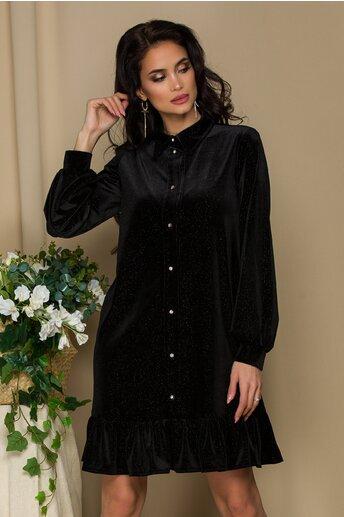 Rochie LaDonna neagra tip camasa din catifea cu insertii din fir lurex