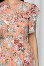 Rochie LaDonna orange cu imprimeu floral si volan la maneci si bust dublat de tull