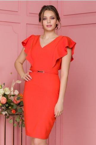 Rochie LaDonna orange cu volane pe umeri si accesoriu in talie