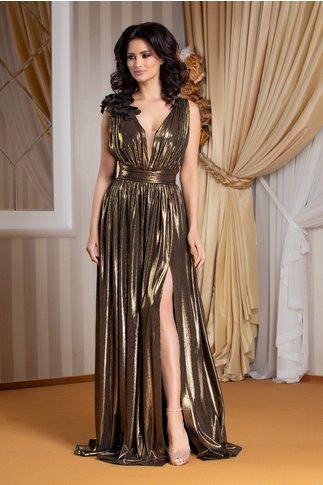 Rochie Ladonna Raysa lunga de seara auriu metalizat