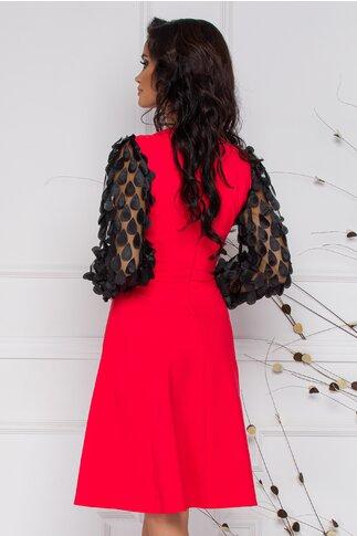 Rochie LaDonna rosie cu aplicatii pe maneci si la decolteu