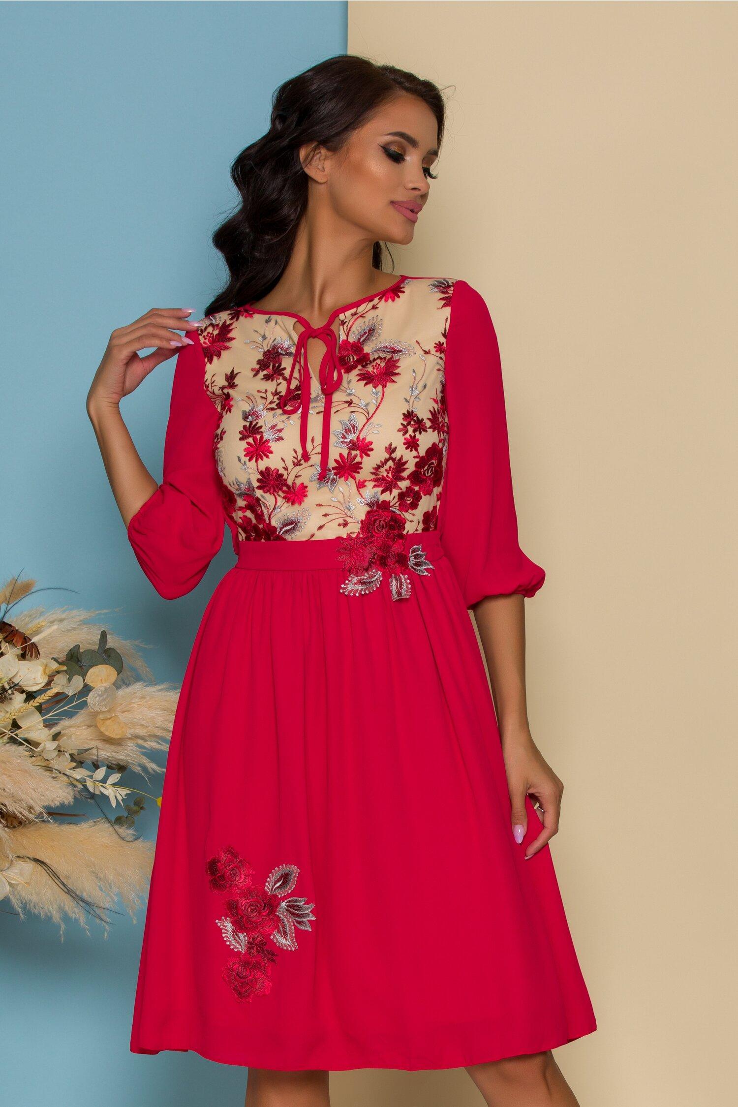 rochie ladonna rosie cu bej la bust si broderie florala 559140 4