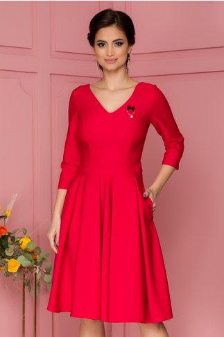 Rochie LaDonna rosie cu pliuri maxi in talie