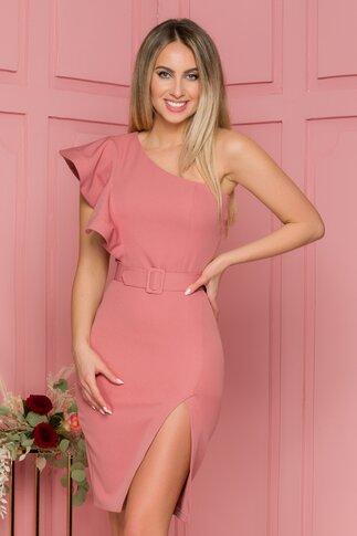 Rochie LaDonna roz coniac cu design asimetric si volanase pe un umar