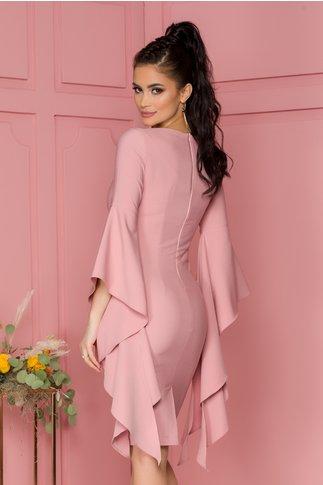 Rochie LaDonna roz conica cu maneci fantezie