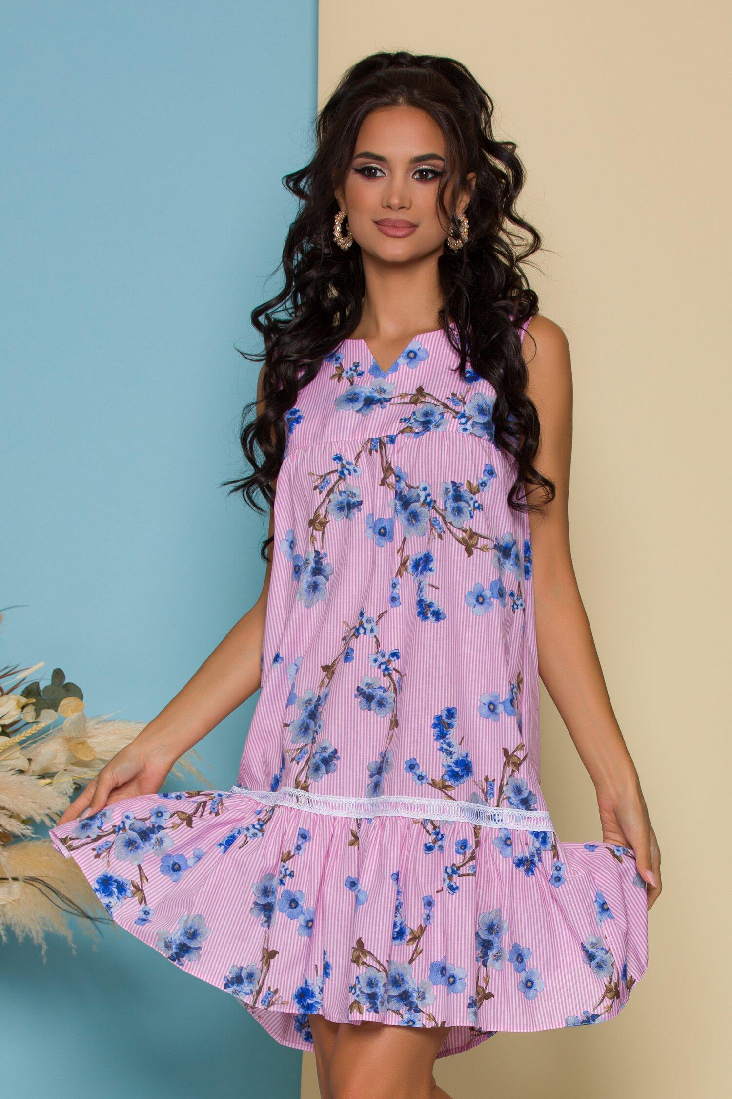 Rochie LaDonna roz cu dungi si imprimeu floral albastru