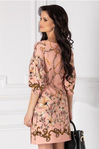 Rochie LaDonna roz cu imprimeu floral bej