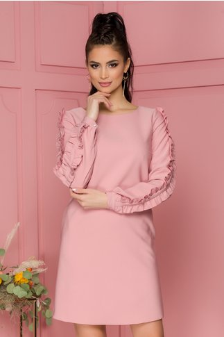 Rochie LaDonna roz cu volanase pe maneci