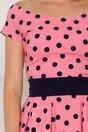 Rochie LaDonna roz imprimata cu buline bleumarin