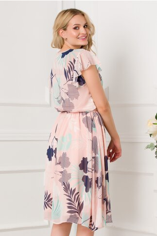 Rochie LaDonna roz pal cu imprimeuri florale si elastic in talie