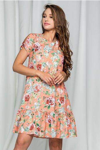 Rochie LaDonna roz piersica cu imprimeu floral si decolteu rotund