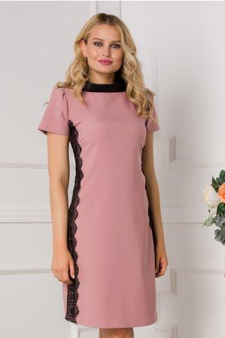 Rochie LaDonna roz prafuit cu broderie si guler negru