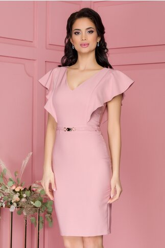 Rochie LaDonna roz prafuit cu volane pe umeri si accesoriu in talie