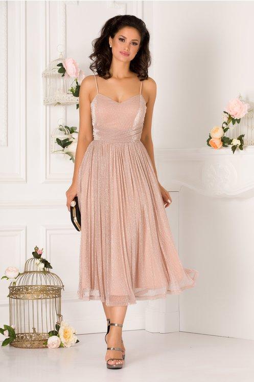 Rochie LaDonna roz prafuit din lurex