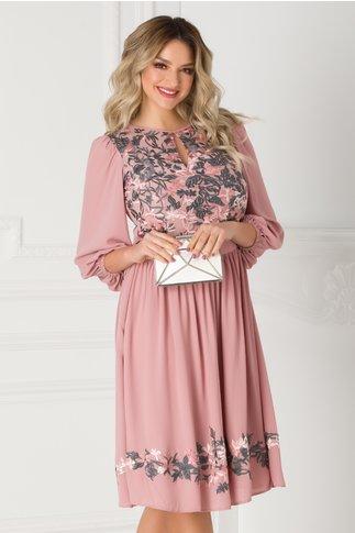 Rochie LaDonna roz prafuit vaporoasa cu broderie florala la bust