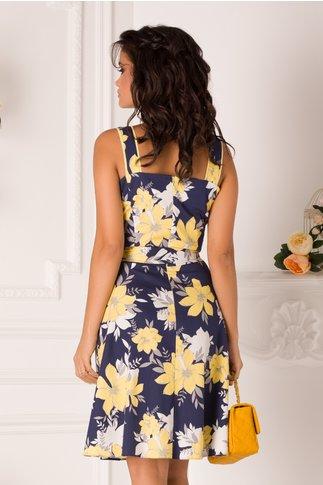 Rochie LaDonna tip sarafan bleumarin cu flori galbene