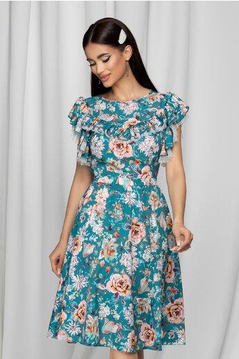 Rochie LaDonna turcoaz cu imprimeu floral si volan la maneci si bust dublat de tull