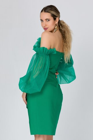 Rochie LaDonna verde accesorizata cu tull delicat