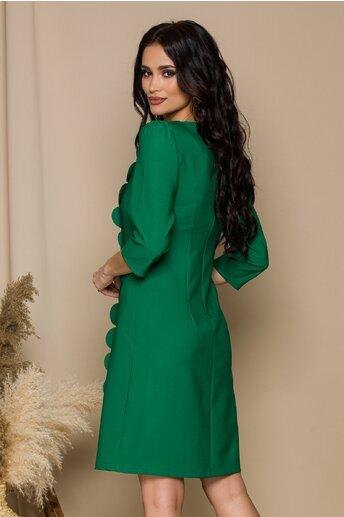 Rochie LaDonna verde cu aplicatii tip petale