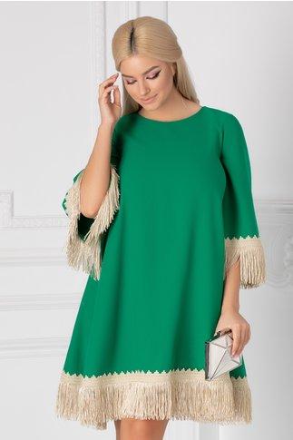Rochie LaDonna verde cu broderie handmade si franjuri