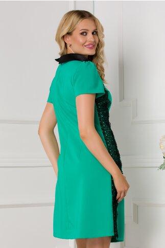 Rochie LaDonna verde cu broderie si guler negru