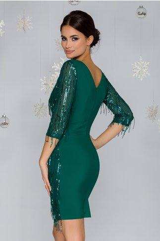 Rochie LaDonna verde cu franjuri din paiete