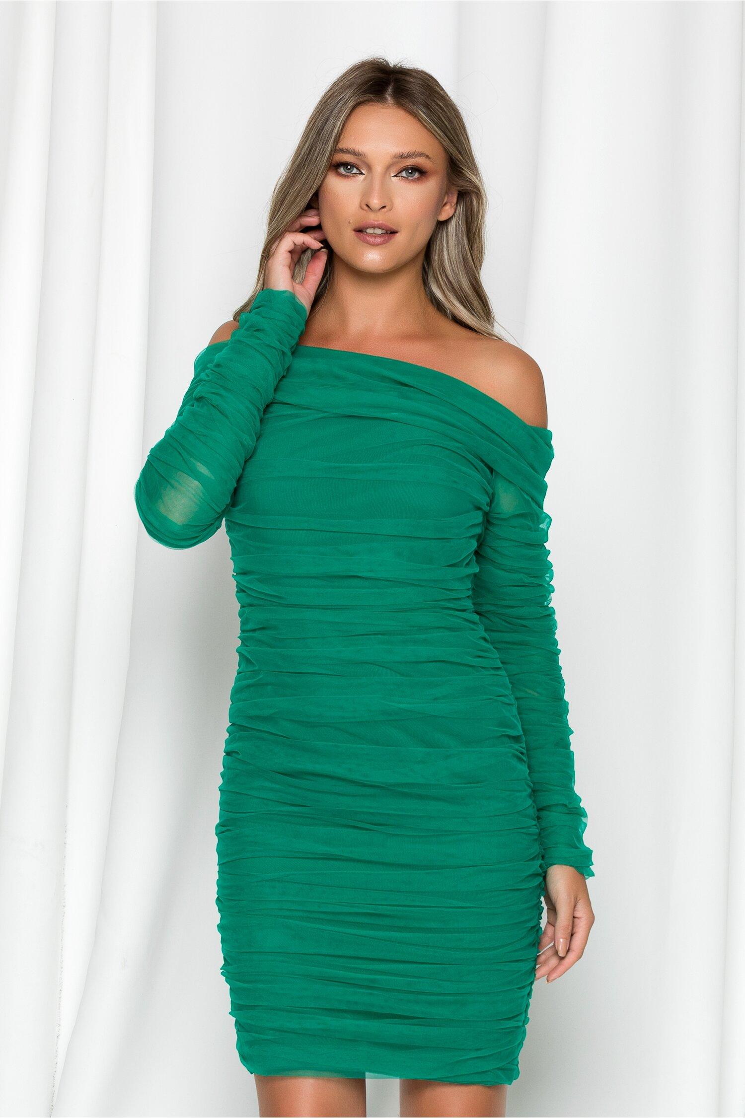 Rochie LaDonna verde cu fronseuri din tull