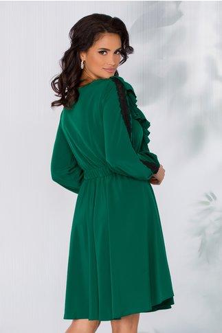 Rochie LaDonna verde cu insertii din dantela neagra si volanase la decolteu
