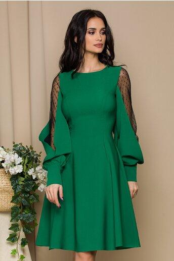 Rochie LaDonna verde cu maneci din tull cu buline