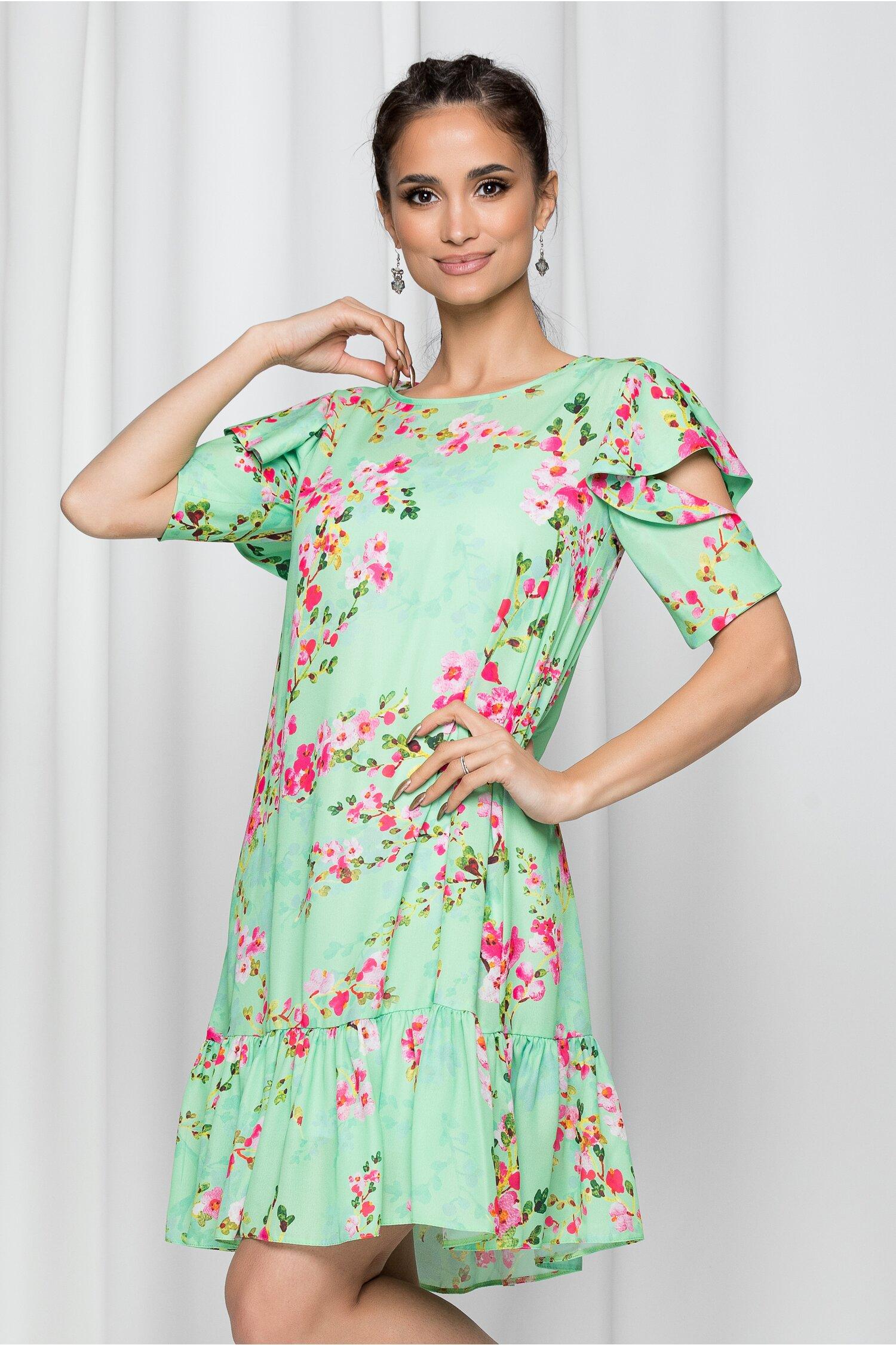Rochie LaDonna verde cu maneci scurte decupate si imprimeu floral