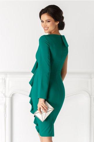 Rochie LaDonna verde cu volan fara o maneca